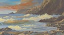 Headlands At Sunset (oil, prints on paper and canvas)