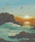 Seagulls At Sunset (oil, prints on paper and canvas)